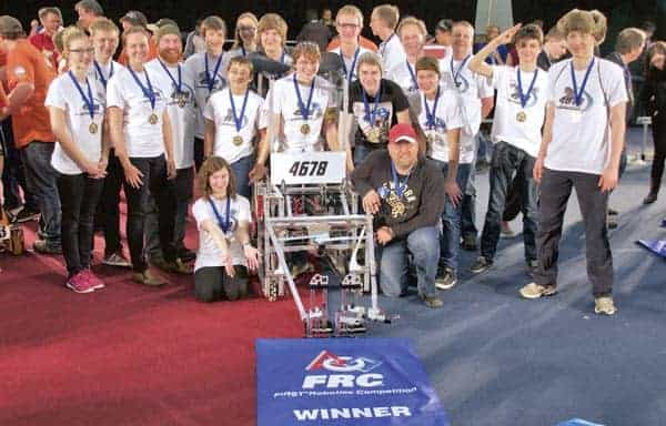 The Woodland Christian High School Cyber Cavs took first prize at the First Robotics competition in North Bay Mar. 26-28, earning a spot at the world championships in St. Louis, Missouri later this month.[Submitted]