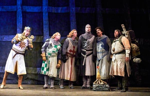 Victor A. Young returns in his role as King Arthur, with the knights of the round table in Drayton Entertainment's production of Spamalot. [Banko Media]
