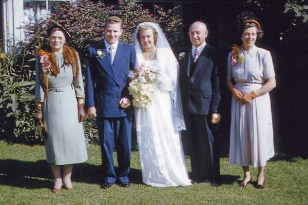 Rose Weppler, Lorne Weppler, Marie Weppler, Otto C. Weppler and Constance Simmons on the couple's wedding day in 1950. [SUBMITTED]