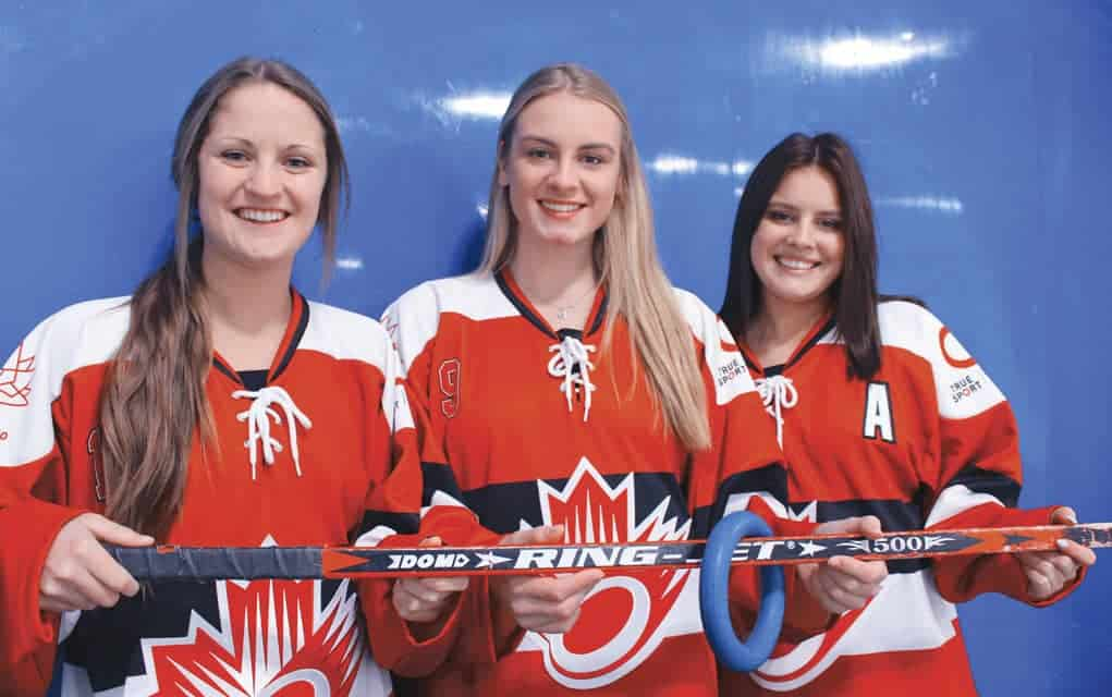 Local players Tara Burke, Erin Markle and Sydney Nosal are competing on the U21 Junior Team Canada at the World Ringette Championships this week in Mississauga, where the team will defend their title against Finland.