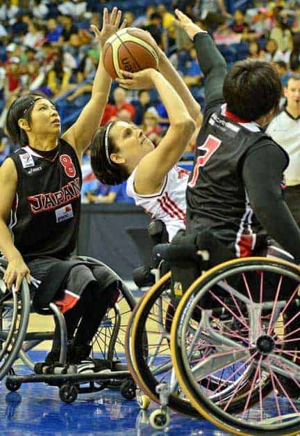 Elmira's Katie Harnock earned player-of-the-game honours with 25 points in a record-setting 83-53 victory over Japan on June 20 to open the 2014 Women's World Wheelchair Basketball Championship. [Submitted]