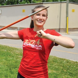 EDSS Grade 10 javelin thrower Emilly Willms competed in the Ontario Federation of Athletic Association track and field championships June 5-7. [Scott Barber / The Observer]