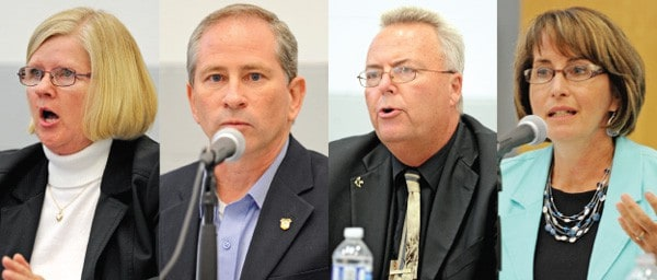 Woolwich mayoral candidates Bonnie Bryant, Todd Cowan, Doug Hergott and Sandy Shantz talked about issues in the township on October 1 at the WMC during a debate sponsored by the Greater Kitchener Waterloo Chamber of Commerce.[Whitney Neilson / The Observer]