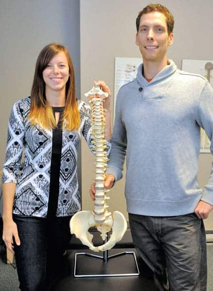 Sarah Taylor and Thom Green have taken over the practice of longtime Elmira chiropractor Bruce Kleinknecht.[Whitney Neilson / The Observer]