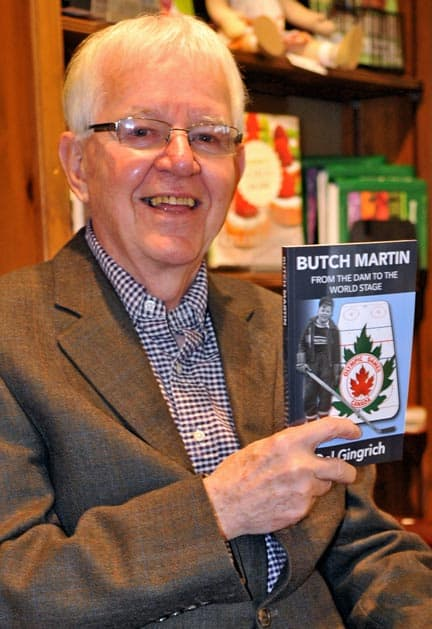 """In Butch Martin: From the Dam to the World Stage author Del Gingrich recounts the remarkable life and career of hockey star –and Floradale native- Floyd """"Butch"""" Martin. [Scott Barber / The Observer]"""