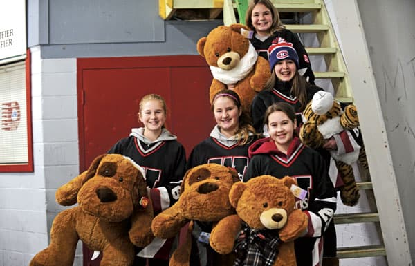 More than 100 stuffed animals were collected during the Jacks' annual Teddy Bear Toss on Dec. 27.[Whitney Neilson / The Observer]