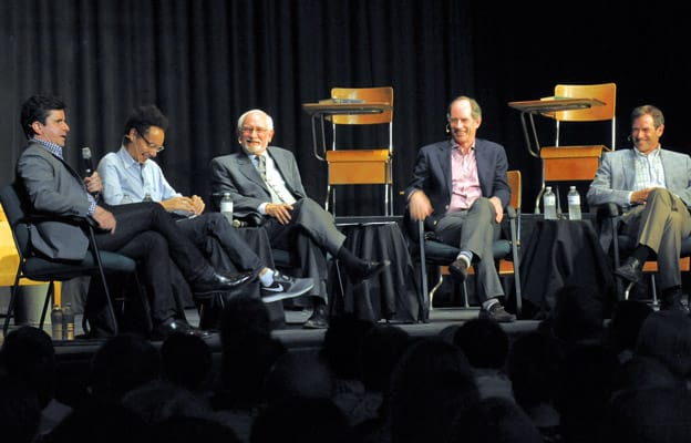 Former teacher Bill Exley (middle) shares a laugh with former students Bruce Headlam, Malcolm Gladwell, Roger Martin and Terry Martin during the alumni roundtable at EDSS on June 7, part of the school's anniversary celebration.[File Photo]