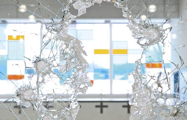 Vandals smashed windows at the WMC, with damage topping $100,000.[File Photo]