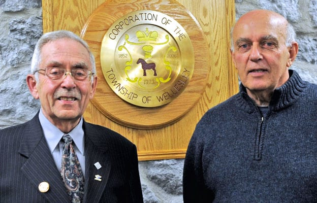 Joe Nowak (right) was elected mayor of Wellesley Township Oct. 27, with long-time incumbent Ross Kelterborn opting to retire at the end of the 2010-2014 term.[File Photo]