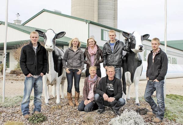 The Schuurmans family own and operate Milky Wave in Floradale, a dairy farm with 210 cows, which produce some 2.8 million litres of milk each year. Back row: Tom, Emily, Lize, Jim and Eric. Front row: Bettina and Henk. [Submitted]