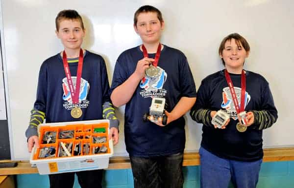 Jacob Bouzane, Joseph Ditner and Braeden Hof took home gold in Lego Robotics at the Waterloo Regional Technological Skills Competition on Feb. 27.[Whitney Neilson / The Observer]