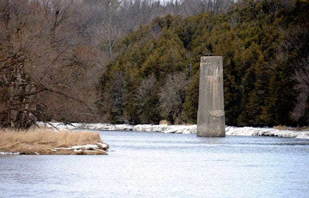 Abandoned in 1990, the old Canadian Pacific Rail bridge across the Grand River just north of West Montrose could be rebuilt following an engineering feasibility study authorized by the Region of Waterloo. [Scott Barber / The Observer]