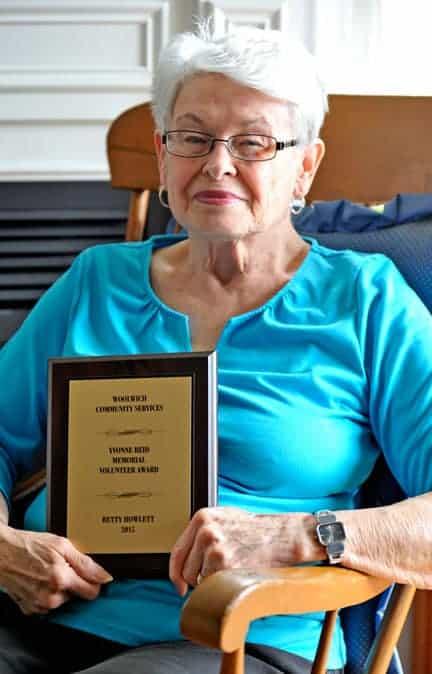 Betty Howlett was recognized by Woolwich Community Services this week with the Yvonne Reid volunteer of the year award. The Elmira resident also became the first person to receive a 30 years of service award from the organization when the group met for its annual volunteer appreciation event April 20 at the St. Jacobs Schoolhouse Theatre. [Scott Barber / The Observer]