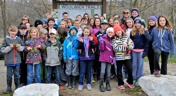 St. Jacobs Public School students traversed the Mill Race Trail Wednesday morning, as part of the tenth annual Earth Day hike. Floradale, Riverside and Breslau public schools also took part in the event, which aims to promote the some 100 kilometres of trails in Woolwich Township.  [Scott Barber / The Observer]
