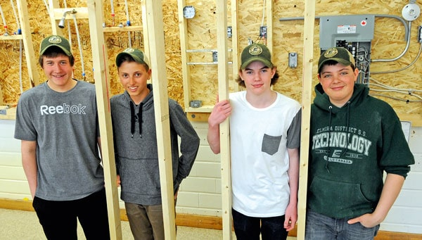 Adam Weber, Walker Schott, Noah Zeller and Nathan Hergott will represent Elmira District Secondary School in the carpentry event at the Skills Canada provincial competition May 4-6 at RIM Park in Waterloo.  [Scott Barber / The Observer]