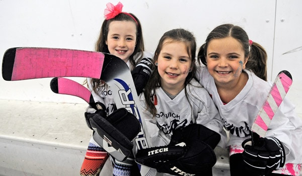 Olivia Weiss, Peyton Gaudet and Kylie Rayfield will be moving up to the Novice level next season, as part of the Woolwich Girls Minor Hockey Association, which is holding a Come and Try Girls Hockey event on Apr. 18.[Whitney Neilson / The Observer]