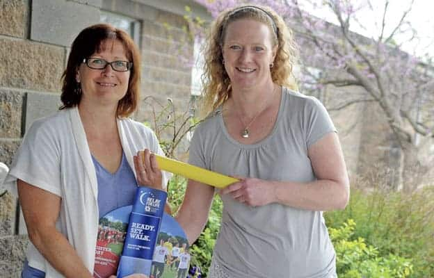 Carey Gallagher and Tracey Duldhardt are gearing up for what should be another successful Woolwich Relay for Life at SJK, where they're hoping to see more Elmira and St. Jacobs families due to the event switching to daytime hours.[Whitney Neilson / The Observer]