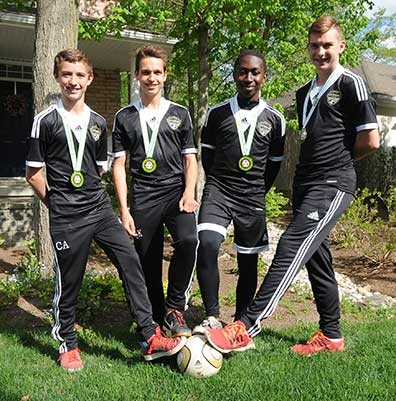 Cameron Anderson, Quinn Kuepfer, Quinton Jackson and Evan Rees helped lead their Waterloo United U14A team to win the Premier Indoor Soccer League championship and now have their eyes on the Ontario Cup.[whitney neilson / the observer]