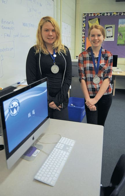 Noelle Marshall and Jacquiline Bender were second at the provincial Skills competition, a first for Wellesley Public School.[Whitney Neilson / The Observer]