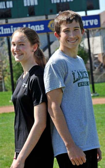 Savannah Campbell placed second in the junior girls' 100-metre dash and Owen Read earned a third-place finish in the senior boys' 300-metre race at the track wars meet May 1 at Jacob Hespeler Secondary School. [Scott Barber / The Observer]