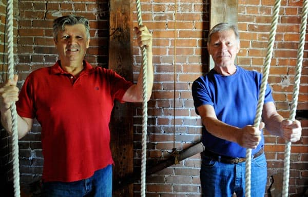Terry Rohr and Franklin Jonas are two of the main bell ringers who are ringing the St. Matthew's Evangelical Lutheran Church's bells in Conestogo for two weeks to recognize the 1,181 murdered and missing aboriginal women and girls between 1980 and 2012 in Canada.[Whitney Neilson / The Observer]