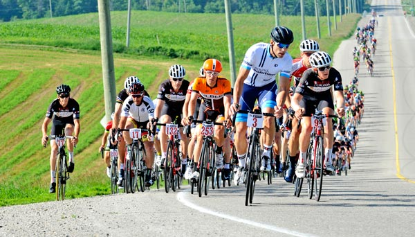 Ryan Roth (number 253) won the 133-kilometre Tour de Waterloo cycling race, which began in St. Jacobs and stretched across much of Woolwich and Wellesley townships June 21. [Scott Barber / The Observer]