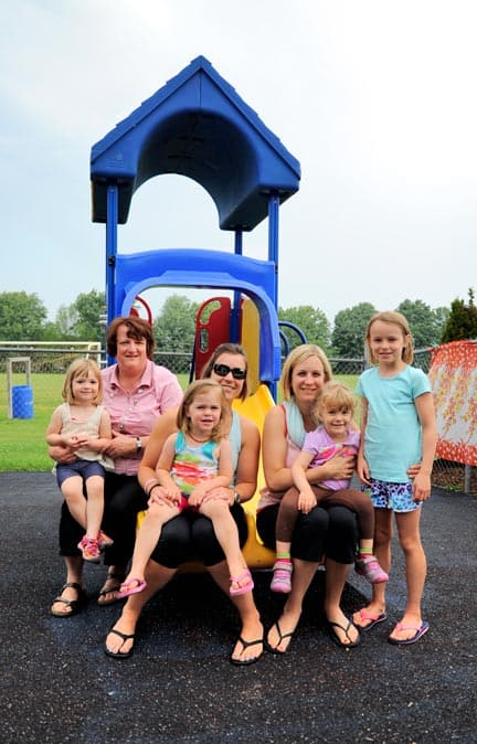 The Elmira Community Nursery School will be making the move to the new Riverside PS. Current and former members of the school are Diane Martin, Breea Schouldice, Amy Forwell, Emma Forwell, Steph Gunn, Kenzie Gunn and Sara Forwell.[Whitney Neilson / The Observer]