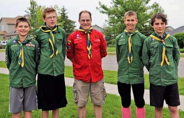 Elmira Scouts Brendan Marshall, Tyler Elg, Philippe Bertrand, Max Campbell and Cameron McGee are off to the Pacific Jamboree this weekend. Also attending are Annie Straus and Doug McGee.[Whitney Neilson / The Observer]