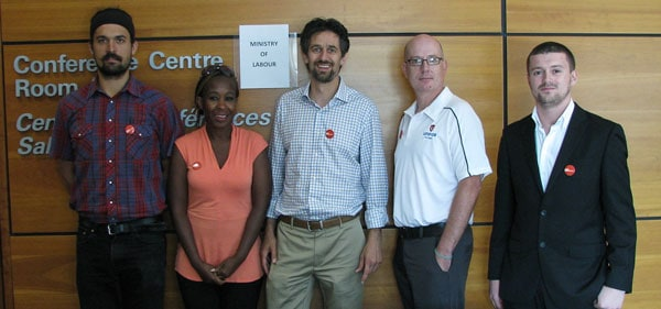 Jesse Bauman, Karen Maleka, Marc Xuereb, David Eales and Jordan Ellis spoke to the special advisors on the Changing Workplaces Review in Guelph last week about the need to change the Employment Standards Act and the Labour Relations Act to better reflect the needs of workers. [Submitted]