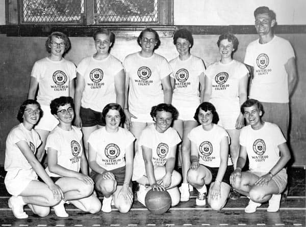 1961 Waterloo County Girls Volleyball team at Field Day. [Submitted]