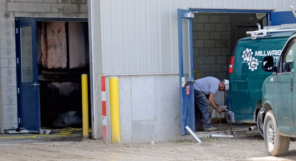 A small fire at Elmira Pet Products caused damage to one grinder over the weekend. It took roughly four hours for fire crews from Elmira and Floradale to clean up.[Whtiney Neilson / The Observer]