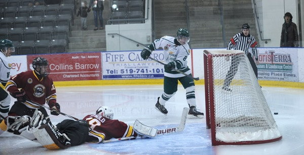 Ryley Cribbin misses the shot in a 5-4 loss to the Brampton Bombers on Nov. 1 at the WMC. The Elmira Sugar Kings have now lost nine games in a row, and subsequently fired head coach Jeff Flanagan just hours before Sunday's game.[Whitney Neilson  / The Observer]