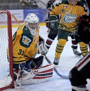 Liam Devine keeps his eye on the puck during the Sugar Kings' overtime win versus Brantford on Nov. 29.[Whtiney Neilson / The Observer]