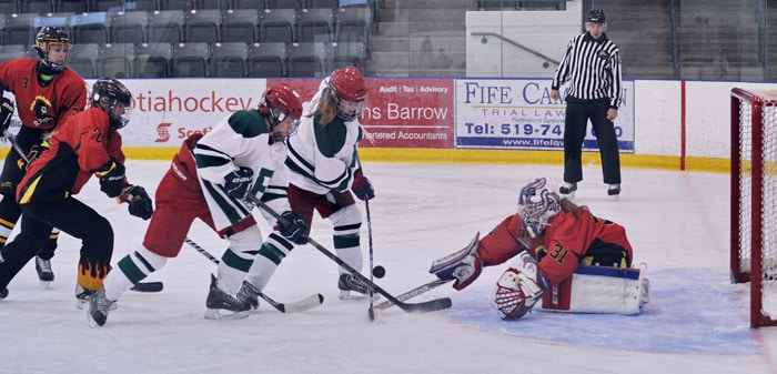 The EDSS girls hockey team skated to a 10-0 win over KCI in their first game of the season on Monday