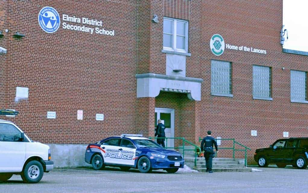 Elmira District Secondary School was closed on Monday after a staffer received a non-specific communication, causing the school board and local police concern. Officers were at the school all day Monday looking for anything out of place or threatening.[Liz Bevan / The Observer]