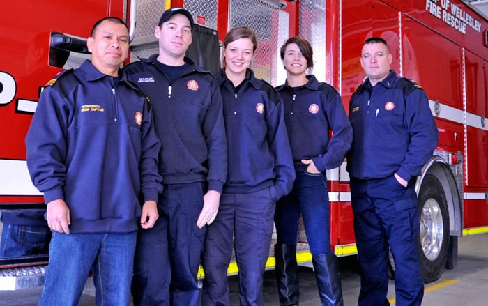 Wellesley firefighters James Gingerich, Matt Karley, Tabitha Siegfried, Shannon Martin and Rich Hurren are getting ready to head to Guatemala next month to help train local fire departments and provide donated equipment.[Liz Bevan / The Observer]