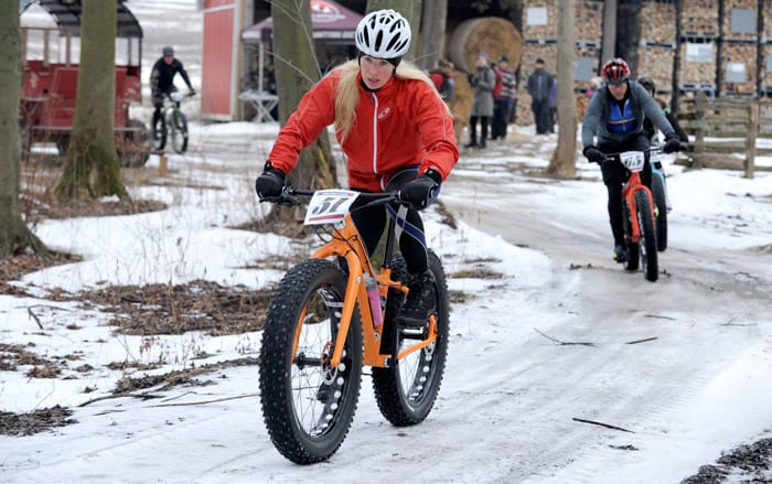 Brave cyclists hit the trails at Shady Grove Maple Farms on Jan. 31 for the second annual Sugar Shack Hustle Fat Bike Scramble.[Whitney Neilson / The Observer]