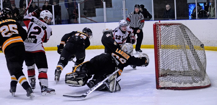 Nick Breault scored twice against the Tavistock Braves to give the Wellesley Applejacks a 5-3 win for their final regular season game. Playoffs start this weekend with home games on Saturday and Sunday.[Whitney Neilson / The Observer]