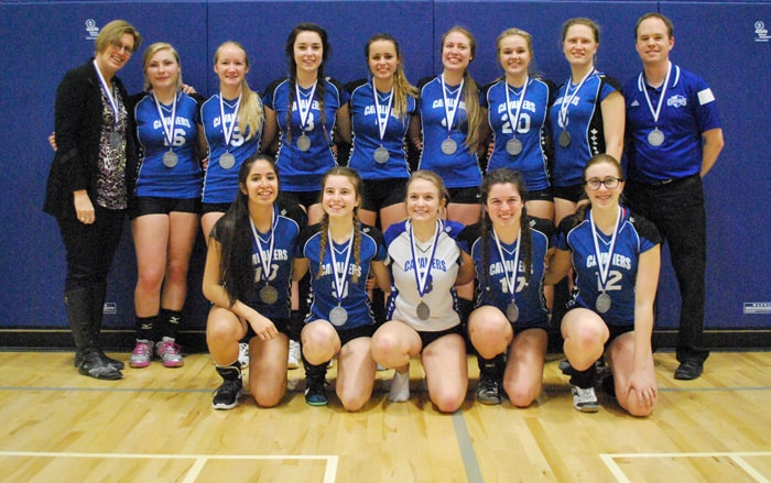 Woodland's senior girls' volleyball team poses here with their District 8 silver medals. They competed at CWOSSA on Tuesday, taking the championship match, and moving on to OFSAA.[Submitted]