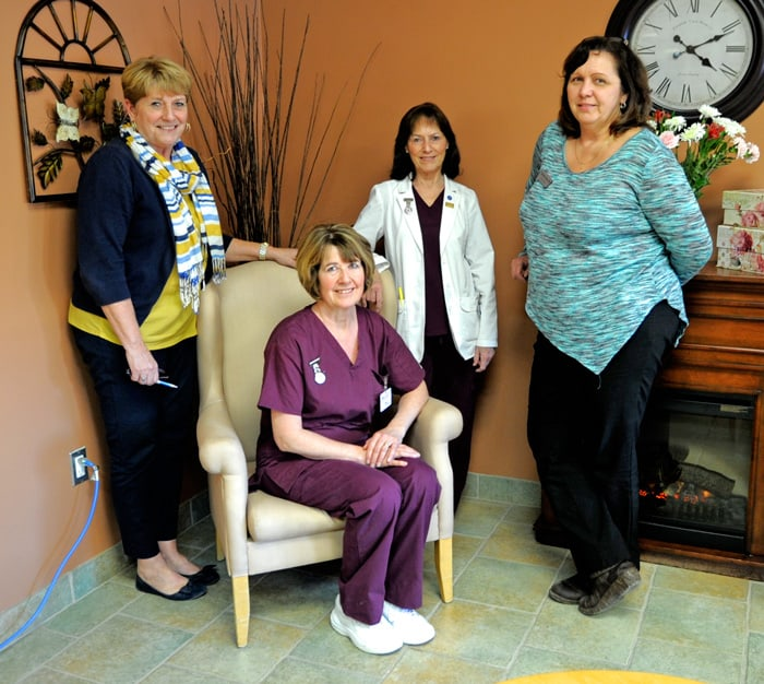 Cathy Holland, Patricia Riddell, Carla Schott, and Dianne Tone are all encouraged by the first class of PSW students in Elmira and are looking forward to a new class this spring, which is still accepting students.[Whitney Neilson / The Observer]