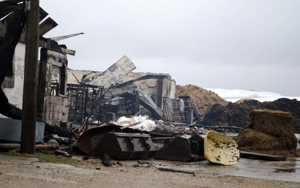 A barn at 1025 Maryhill Rd. went up in flames on Saturday night. More than 50 firefighters from four Woolwich stations were on the scene. The fire caused $500,000 in damage, and resulted in the loss of 45 cows.[Liz Bevan / The Observer]