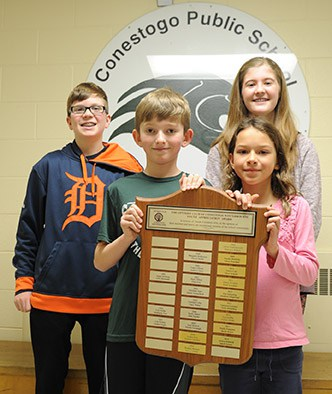 The Conestogo-Winterbourne Optimist Club handed out their Student Appreciation awards to Conestogo Public School students Blake Roemer, Hadley Mustakas (back), Jakob Geimer and Jessica Schmidt (front).[Liz Bevan / The Observer]