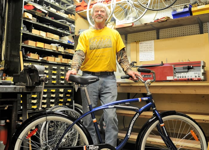 Peter Street is an avid cyclist who enjoys passing that enthusiasm along to others. To that end, he's now the resident bike expert at the Elmira Home Hardware store, sharing safety tips and encouraging local riders to hop on their bikes this spring.[Liz Bevan / The Observer]