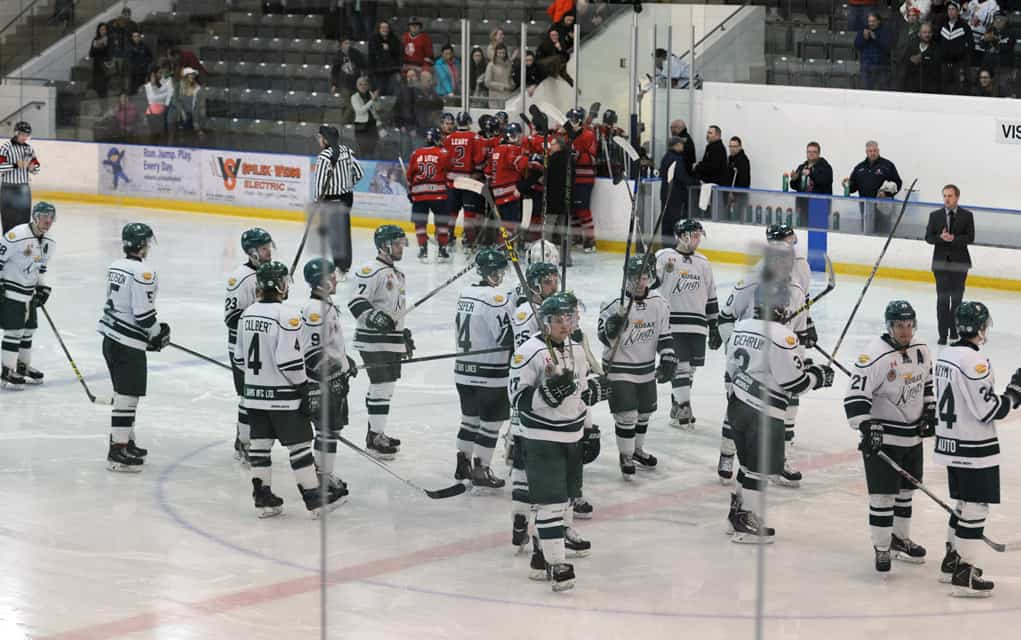 The Elmira Sugar Kings tied the game up twice against the Stratford Cullitons in Game 6 of the semi-finals on Sunday night, but eventually lost 4-3 in overtime to end the Kings' season.[Whitney Neilson / The Observer]