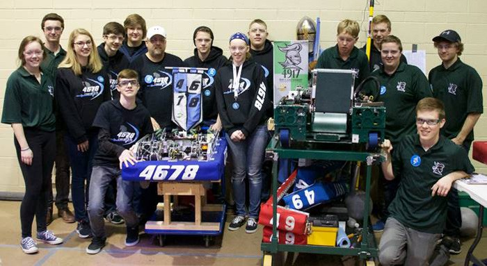 Teams from Woodside Christian High School in Breslau and Elmira District Secondary School put their robots to the test at the annual Waterloo Regional FIRST Robotics competition last weekend. [Submitted]