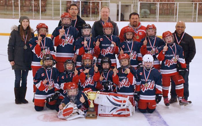 The Woolwich Wild Atom LL team won the gold medal in the KMHA Pool A championship final with a 2-1 victory over the Ayr Rockets on Apr. 2. Front: Makenna Kroetsch. Second row: Emily Martin, Bella Roth, Reese Talbot, Katie Brubacher, Tiana Bender, Nora Beatty. Third row: Emily Sargent, Kyla Bloch, Hailey Brubacher, Kelsey Brubacher, Karli Gingrich, Alison Martin, Claire Jacklin. Forth row: trainer and coaches Melissa Roth, Ken Martin, Joe Jacklin, Kirby Gingrich, Brad Talbot.[Submitted]