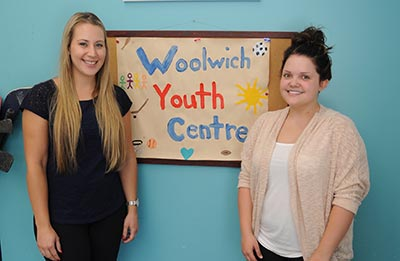 Carlina Longworth and Mariah Roth are two of the friendly faces you'll see at the Youth Centre. They're encouraging youth entering Grade 6 up to age 19 to come out this summer and participate in their activities at the centre and scheduled day trips. [Whitney Neilson / The Observer]