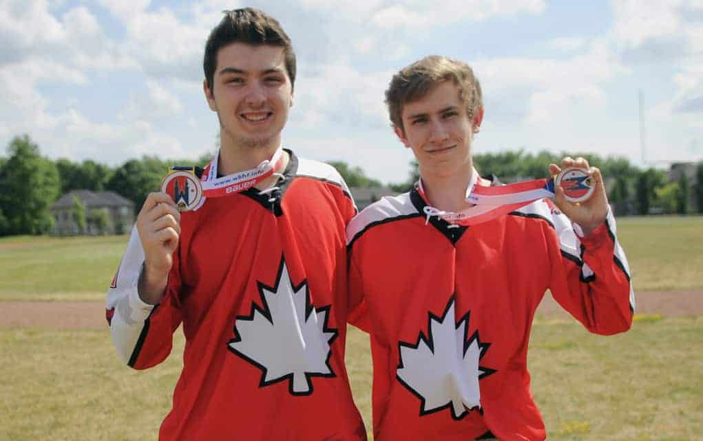 Kelby Martin and Tyler Moser brought home gold medals to Elmira as part of the Canadian U18 ball hockey team which won the World Juniors Championship in Prague.