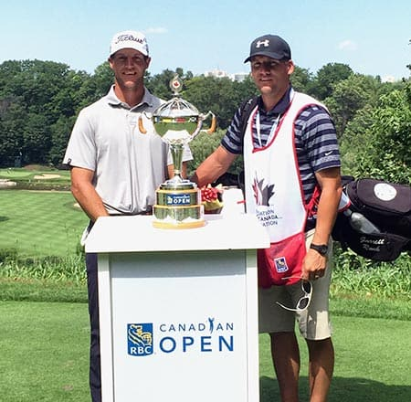 Elmira's Garrett Rank (left) had a busy week, playing in the Canadian Open in Oakville and signing contracts with the NHL naming him a full-time referee. He was joined at Glen Abbey by his brother Kyle, who was caddying for him.[submitted]
