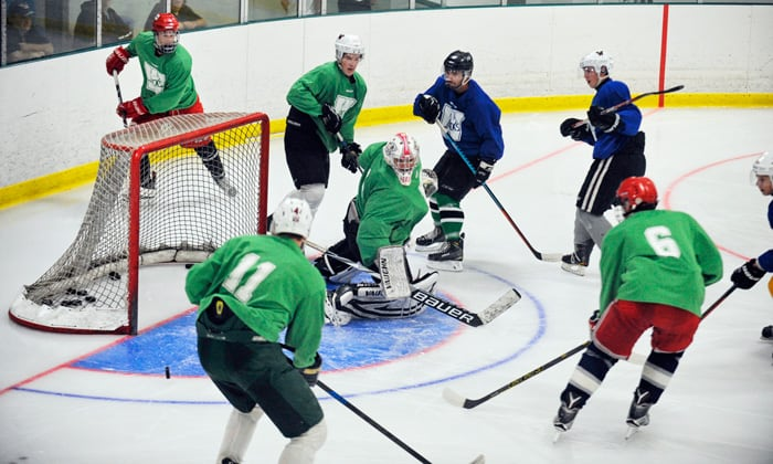 The green and blue squads battled it out at the St. Clements arena on Saturday afternoon during the Wellesley Applejacks' prospects camp. [Liz Bevan / The Observer]